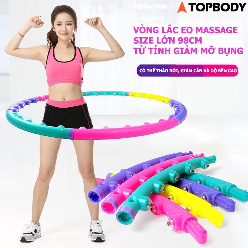 Vòng lắc eo massage Hula Hoop size lớn 98cm hạt từ tính, giảm mỡ bụng TOPBODY