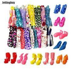 Jettingbuy 10x Handmade Dress Doll Quần Áo + 10XShoes Giày Cao Gót Cho Búp Bê Barbie Đồ Chơi Trẻ Em