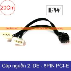 Cáp nguồn 2 IDE/ATA 4pin PSU ra 8pin PCI-E Video card 20Cm Brawis BR-CBPW218