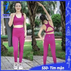 Bộ đồ tập gym yoga nữ cao cấp, thiết kế sang trọng, form chuẩn, thun co giãn 4 chiều thoải mái
