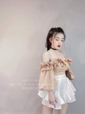 Sét áo và chân váy nữ áo tay phồng kiểu trễ vai có kèm mút phối chân váy bèo thích hợp đi chơi, đi tiệc