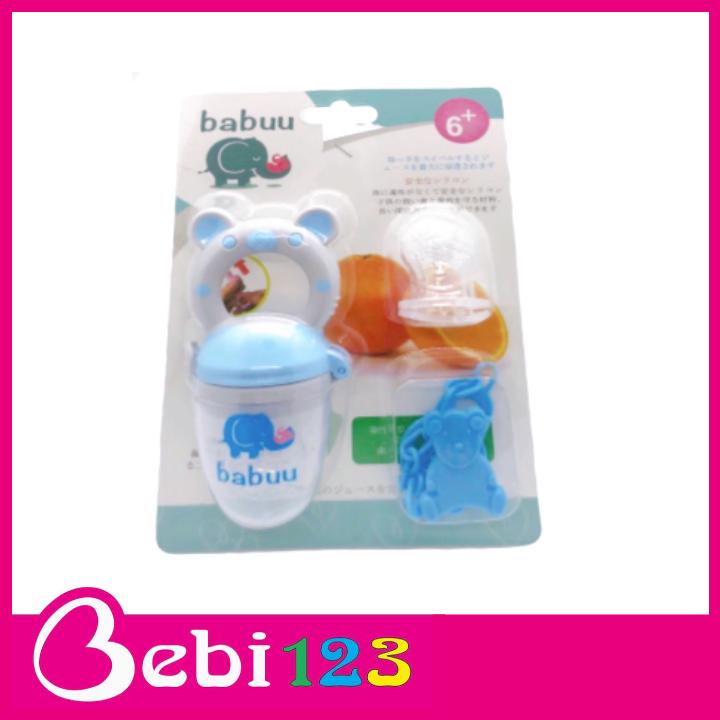 Túi nhai 3 giai đoạn Baby Babuu Nhật Bản kèm dây kẹp cho bé ăn dặm