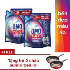 Combo 2 túi nước giặt Omo matic cửa trước 2.7kg tặng bộ 2 chảo Sumio tiện lợi