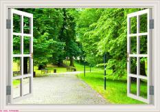 Tranh 3D dán tường hình cửa sổ ( Giao mẫu ngẫu nhiên)