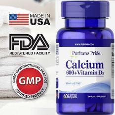 HOT Sales 85% -(HSD 29.3.2021) Viên uống bổ sung Canxi và Vitamin D3 Puritan's Pride Calcium 600Timed Release 60 viên