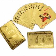 Bộ bài tây 52 lá mạ vàng 24k 2020, bộ bài nhựa mạ plastic