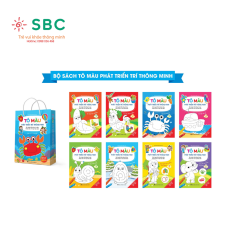 [HCM]Bộ 8 c.uốn tô màu phiên bản mới song ngữ phát triển tư duy cho bé (túi xanh)