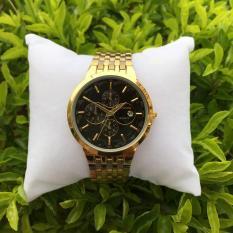 đồng hồ nam baishuns dây vàng mặt đen,chống xước,chống nước tuyệt đối