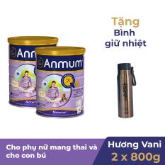 Bộ 2 Sữa bột Anmum Materna hương Vani 800g Tặng 1 Bình giữ nhiệt