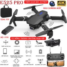 (NEW 2021) – TẶNG TÚI ĐỰNG- Flycam mini E525 PRO 4K hai camera kép, chức năng tự động tránh chướng ngại vật ba hướng, thời gian bay 18 phút, có thể zoom hoặc phong to ảnh, chế độ bay không đầu – nhào lộn 360° – BẢO HÀNH 3 THÁNG