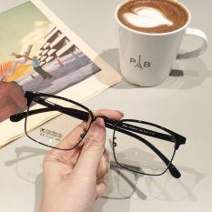 [video+quà+Freeship] Kính cận nam nữ Lily Eyewear 770 mắt kính gọng kim loại vuông có độ, mắt kính trong suốt giả cận kính thời trang, kính kèm tròng 0 độ nhận cắt kính cận, gọng kính vuông cao cấp cho nam nữ nhiều màu