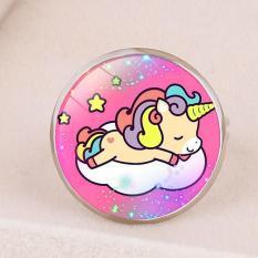 Nhẫn Unicorn mặt tròn lung linh đủ họa tiết cho bé yêu BBShine – J031