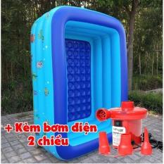 [Tặng 3 vịt nhà tắm] Bể phao 1m50 loại dày có đáy chống trượt (2 tầng và 3 tầng) kèm bơm điện tặng kèm miếng vá