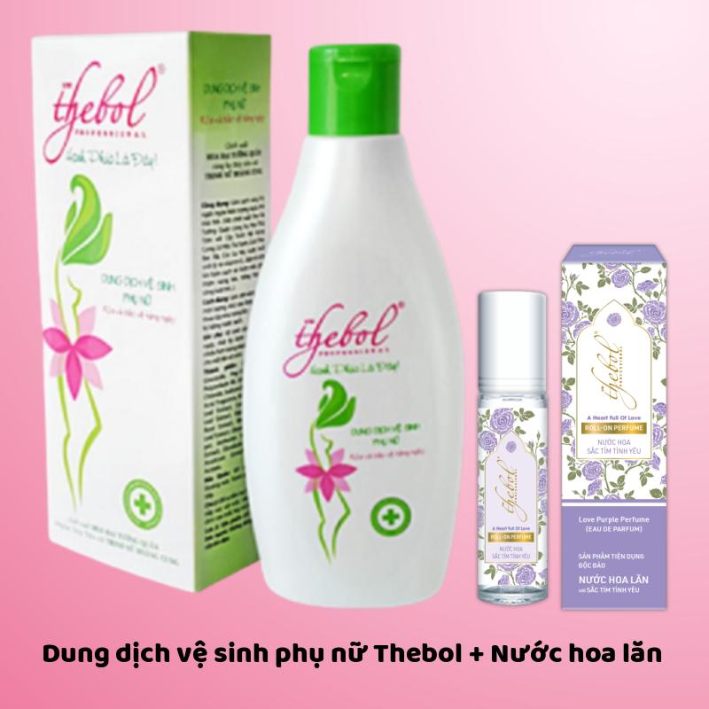 Dung dịch vệ sinh phụ nữ ngăn mùi giảm viêm ngứa Thebol cao cấp 200g + Nước hoa lăn thơm lâu 8ml