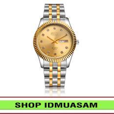 [Có video quay thật] Đồng hồ nam nữ dây thép không gỉ Bosck IDMUASAM 5751 (Mặt vàng)