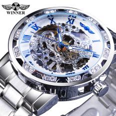 Người chiến thắng mới thời trang trong suốt kim cương hiển thị tay dạ quang thể thao Retro Hoàng gia thiết kế đồng hồ cơ xương Nam. Món quà của nam giới