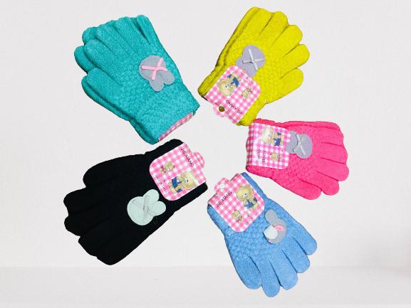 Găng tay len dày dặn cho bé gái ấm áp