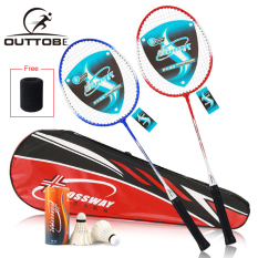 Outtobe 2PCS Badminton Racket Set-Professional Carbon Fiber Badminton Racket Full Cover High Tension Pre Strung Racquets with 2 shuttlecocks and Carrying Bag for Beginner and Couple Leisure