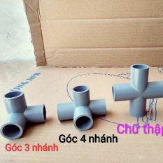 4 chiếc co cút góc 4 nhánh ống nhựa PVC 21 27 34 42, sản phẩm được sử dụng để chế đồ chơi, cũi, bể bơi, nhà lều, chuồng gà