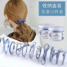 Set 12 dây buộc tóc đơn giản Hàn Quốc dễ thương kèm hộp