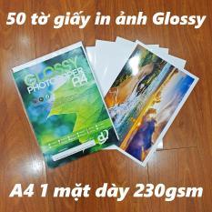 50 tờ Giấy In Ảnh A4 210gsm Glossy Bóng 1 mặt (chuyên để rửa ảnh, in ảnh từ máy in phun và laser)