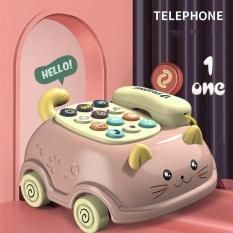 Đồ chơi trẻ em thông minh điện thoại xe kéo mèo cưng màu xanh hồng phát nhạc bằng nhựa ABS an toàn cho bé gái bé trai