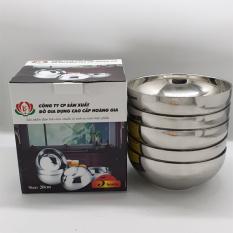 Bộ 5 bát tô canh Inox Hoàng Gia 2 lớp cách nhiệt loại 20CM(Bạc)