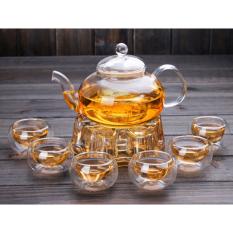 Bộ ấm pha trà thủy tinh, bộ ấm đun trà thủy tinh chịu nhiệt kèm đế nến