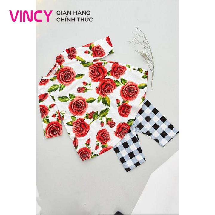 Bộ thun Vincy lửng họa tiết hoa hồng M9SSTL050