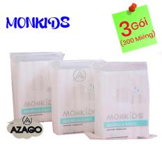 COMBO 3 gói bông tẩy trang 100% cotton 3 lớp mềm mịn thấm hút cực tốt 300 miếng BTT02AZ – Thương Hiệu MONKIDS
