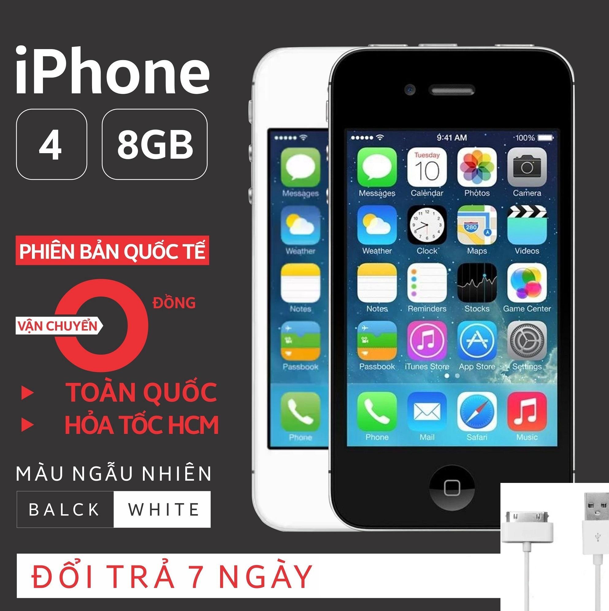 Điện thoại IPHONE 4-8GB Phiên bản quốc tế - Bao đổi trả - Màu ngẫu nhiên - Tặng cáp sạc...