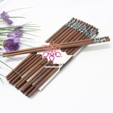 Bộ 10 đôi đũa ăn gỗ Hương tự nhiên cao cấp đầu khảm trai Mỹ Nghệ