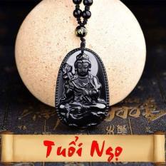 Dây chuyền/ Vòng cổ/ Chuỗi hạt đeo cổ Phật bản mệnh cao cao cấp – Độ Mệnh Cho Người Tuổi Ngọ – Đá đá obsidian đen