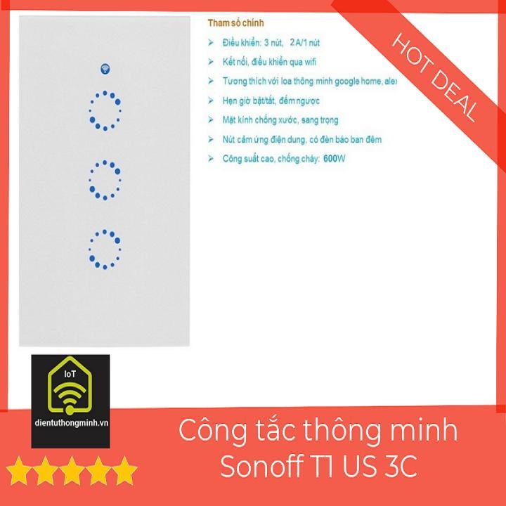 Công Tắc Wifi Sonoff Touch T1 US 3C (Chữ Nhật 3 nút)