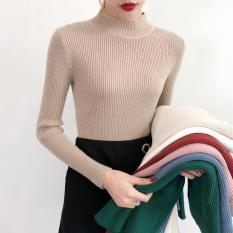 Áo len gân cổ 3 phân basic thời trang nữ mềm mại siêu ấm phong cách quý cô Hàn Quốc