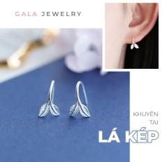 Khuyên tai nữ Gala hình Lá Kép KT07 – bông tai bạc 925 dạng móc cá tính