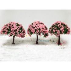 Mô hình cây xanh hoa hồng, hoa trắng 8cm trang trí tiểu cảnh, nhà búp bê, terrarium