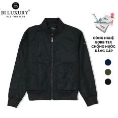 Áo khoác gió hai lớp Biluxury áo bomber nam thời trang màu đen 4AG2T008