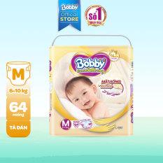 [Freeship 20K, đơn 300K] Tã/Bỉm dán cao cấp siêu mềm Bobby Extra Soft Dry M-64 miếng (6 – 10kg)