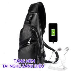 Túi đeo chéo nam da cao cấp có cổng sạc USB và lỗ tai nghe (tặng dây usb và tai nghe)