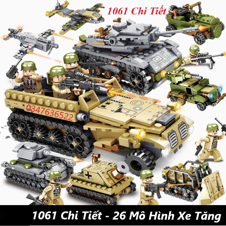 [1061 CHI TIẾT] BỘ ĐỒ CHƠI XẾP HÌNH LEGO Xe Tăng, Lego Cảnh Sát, Lego Xe Pháo, Lego Máy bay, Lego Robot, Lego Oto