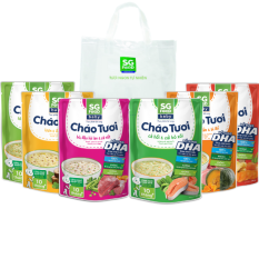 Lốc 6 Túi (69) – Cháo Tươi Baby SG Food 240g, Gà, Thịt Bằm, Bò, Tôm, Lươn, Cá Hồi (1500g)