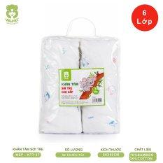 Khăn tắm cao cấp Mipbi 6 lớp 70% sợi tre + 30% cotton mềm mại, kháng khuẩn KTT6 (Túi 2 chiếc 80x80cm)