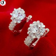 Bông tai nữ Bạc Quang Thản kiểu khuyên đeo sát tai chắc chắn chất liệu bạc 925, gắn đá cobic sáng trắng, phong cách thời trang – QTBT51