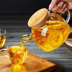 Bình trà thủy tinh 1000ml có nắp gỗ