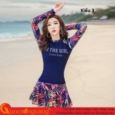 Bộ đồ bơi nữ quần rời giả váy đồ bơi dài tay nữ big size GLSWIM069 Cuocsongvang