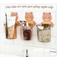 Cốc Đựng Bàn Chải Kem Đánh Răng Hình Gấu Cute Gắn Tường-00879