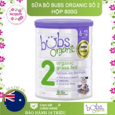 Sữa bò BUBS Organic 800g – số 2 (Hộp)