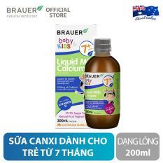 Sữa Canxi Brauer Liquid Milk Calcium dạng lỏng (200ml), hỗ trợ phát triển xương, hệ thần kinh và hệ miễn dịch khỏe mạnh, cho trẻ 7 tháng trở lên