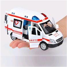 Xe cứu thương RMZ tỉ lệ 1:36 có nhạc và đèn mở được tất cả các cửa xe ô tô bằng sắt chạy cót đồ chơi trẻ em